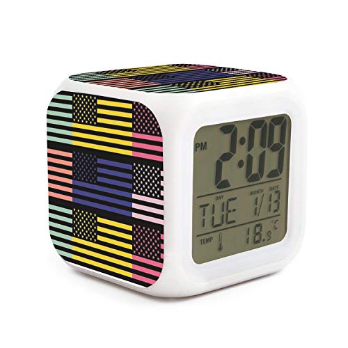 Hotqq The Star Flag American Flag Funny 7 LED Color Change Digital Thermometer Alarm Clock with LCD Display Cube Night Light for Kids