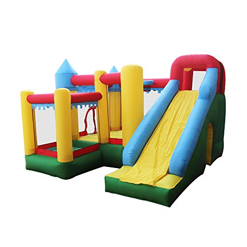 ALEKO BHPOOL Inflatable Commercial Bouncy Bounce House Jump and Slide Bouncer with Ball Pit and UL Approved Blower 10 x 10 x 7 Feet