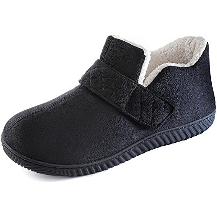 ZIZOR Men's Cozy Memory Foam Slippers with Adjustable Velcro Strap, Fleece Closed Back House Shoes for Men Slip On, Warm Dad House Slippers with Anti Skid Indoor Outdoor Rubber Sole