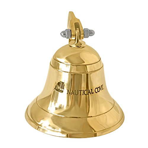 Nautical Cove Solid Brass Ships Bell 3.5 Tall and Wall Mountable - Clear Ring for Indoor and Outdoor Use