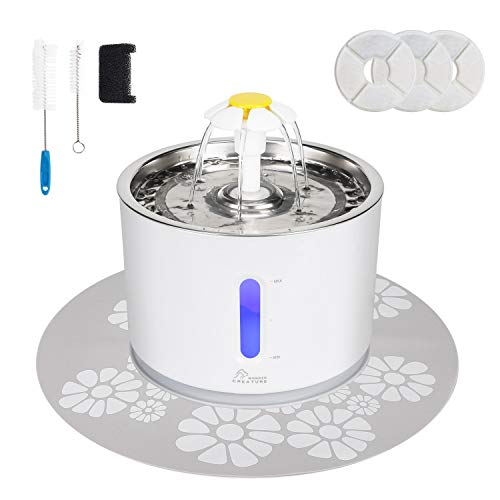 Cat Water Fountain Stainless Steel, 2.4L/81oz Automatic Cat Fountain with LED Light and Switch for Cats and Dogs
