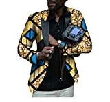 Buildhigh Mens Africa Printed Slim Small Blazer Casual Classic Suit Jacket 3 S