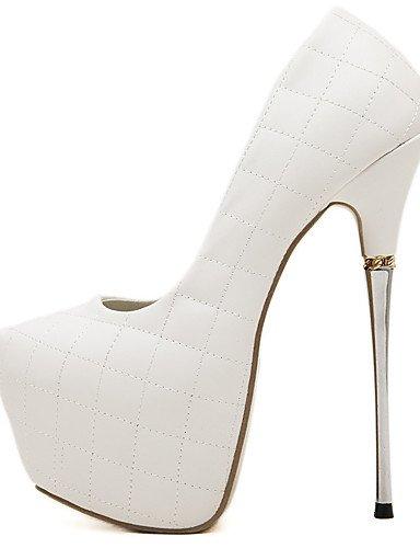 GGX/Damen Schuhe Kunstleder Sommer Heels/Plattform/offene Zehen/Ankle Strap Kleid Stiletto Ferse Schnalle white-us5.5 / eu36 / uk3.5 / cn35