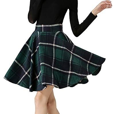 Tanming Women's A-Line Plaid Skirts