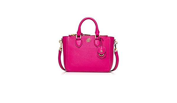 a95e3dc97df Amazon.com: Tory Burch Robinson Pebbled Mini Square Tote Carnation Red  Fuschia Pink Leather Bag New: Shoes