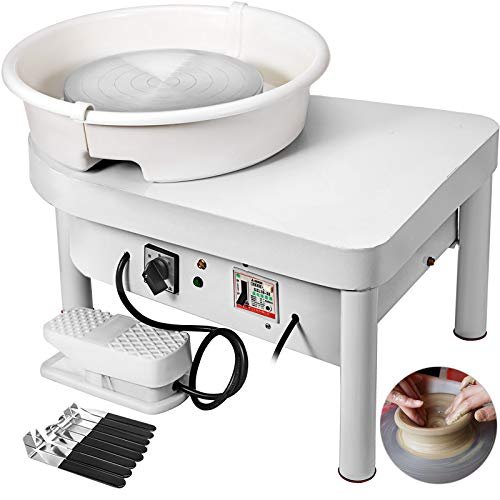(Mophorn Pottery Wheel 25CM Pottery Forming Machine 350W Electric Pottery Wheel with Foot Pedal and Detachable Basin Easy Cleaning for Ceramics Clay Art Craft DIY Clay)