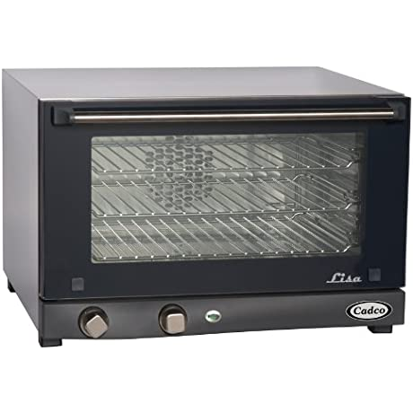 Cadco OV 013 Compact Half Size Convection Oven With Manual Controls 120 Volt 1450 Watt Stainless Black