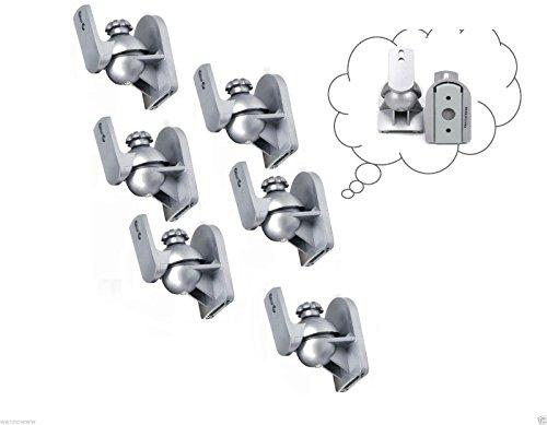 Wennow 6 Pack Sliver Universal Speaker Wall Mount Brackets f