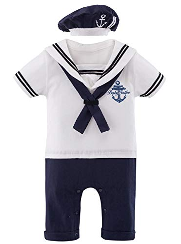COSLAND Baby Boys' 2 Pieces Sailor Romper Outfit (White, 12-18Months)