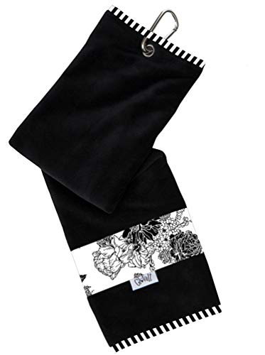 Glove It Womens Sport Towel Small Microfiber Workout Towels - Gym Towels for Women - Ladies Athletic Sports Towel - Absorbs Sweat Fast - Terry Micro Fiber - 2019 Black & White Rose
