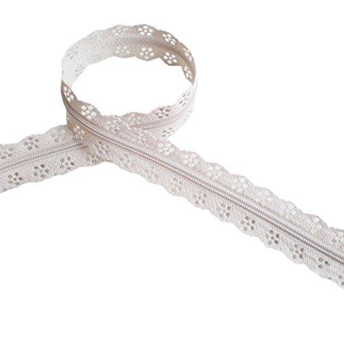 BleuMoo 10Pcs 20cm DIY Colourful Handmade Close End Droplets Head Nylon Lace Zippers (white)