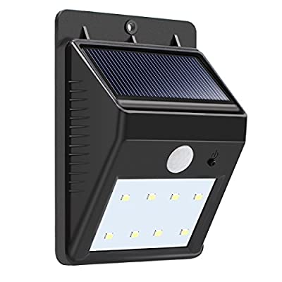 Binval Solar Lights 8 LED Waterproof Wireless Motion Sensor Security Wall Light for Outdoor Patio Deck Yard Garden Fence Driveaway(1-pack).