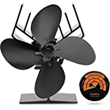 [ 2 Years Warranty ]GalaFire Heat Powered Log Burner Fan Silent 4 Blade Small Wood Stove Fan for Wood Burner,Coal or Multi-Fuel Stove + Magnetic Stove Thermometer