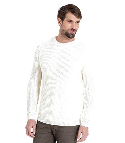 WoolOvers Gerippter Seemanns-Pullover aus reiner Wolle für Herren Cream, L