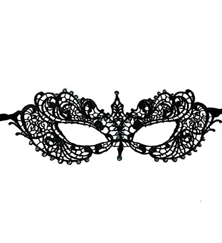 KBW Adult Unisex Black Lace Brocade Face Costume Mask, Mardi Gras Luxury Dress Up Formal Accessories One Size Fits Most -