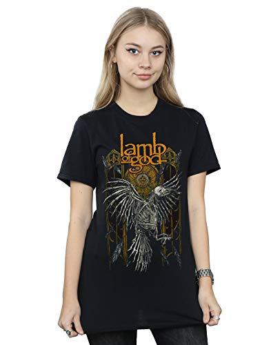 Lamb of God Women's Crow Skeleton Boyfriend Fit T-Shirt Black Medium ()