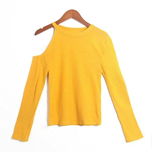 Loisirs Col Longues paule Femme Col Automne Chic Manches Haut Chemisier Rond Tops Blouse Une Vest T Lache Casual Chemises Dcontract V Shirt Lady Jaune f0PBWcq0