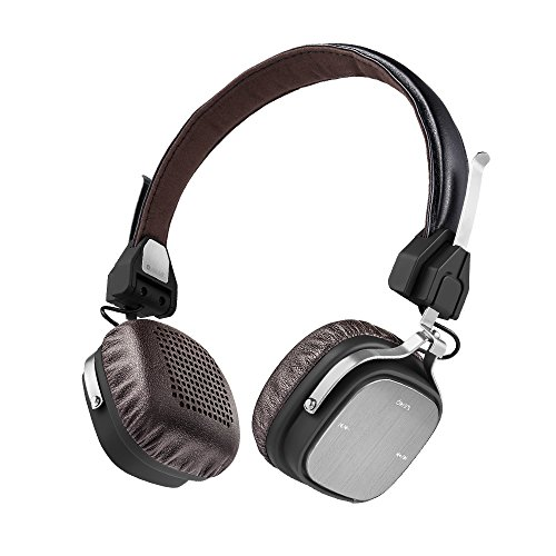 Wireless Bluetooth Headphones, AudioMX HB-Q3 On-Ear Foldable Headsets with Built-in MIC, Vintage Look and Lightweight (Leatheroid Brown)