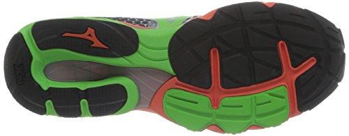 Mizuno Wave Elevation - Zapatos para hombre White/Greenflash/Tangerinetango
