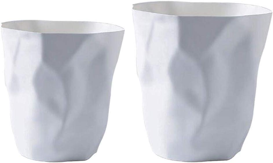 LOVIVER 2pcs Maceta De Plástico Blanca Maceta De Jardín Papeleras Basurero Cubo De Basura: Amazon.es: Hogar