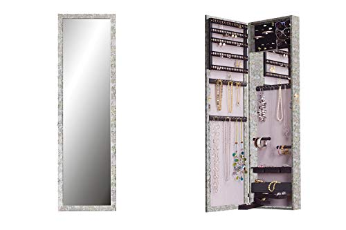 Plaza Astoria Wall Mounted Over The Door Jewelry Armoire Storage Cabinet with Full Length Dressing Mirror and Lock, Silver Floral - Armoire Floral Jewelry