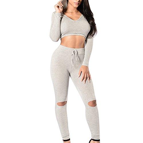 Shujin Femme Sportswear Ensemble Top Shirt Slim et Leggings Stretch Déchiré Pour Fitness Jogging