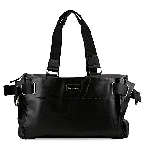 (Oct17 Black Fashion Women Handbag Shoulder Bags Tote Purse Faux Leather Lady Messenger Hobo Bag)