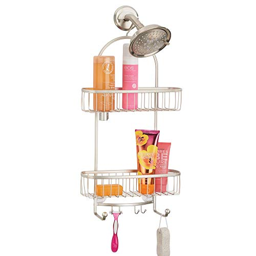 mDesign Vintage Metal Wire Bathroom Tub & Shower Caddy, Hanging Storage Organizer Center with 2 Wash Cloth Hooks and Baskets for Bathroom Shower Stalls, Bathtubs - Rust Resistant Steel - Satin