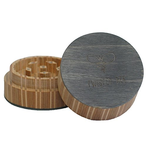 2 Piece Spice Herb Tobacco, Wood Grinder, Made from Recycled Skateboards | Twisted Bee (Classic Black)