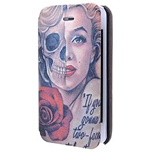 TL Special Grains Rose Skulls Girls Pattern PU Full Body Case with Card Slot for iPhone 4/4S