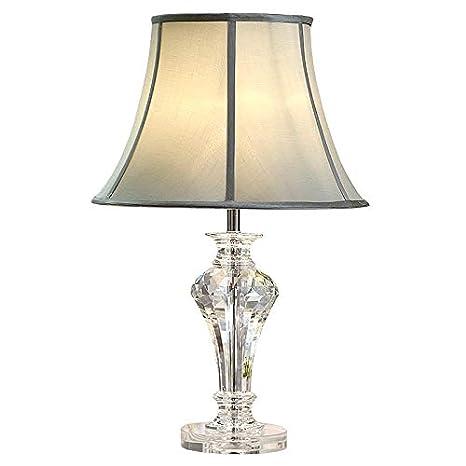Moooni 2 Packs Modern Fabric Lamp Shade Crystal Base Table Lamps