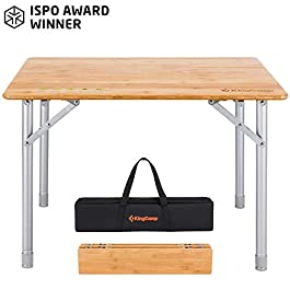 KingCamp Bamboo Folding Table Portable Picnic Camping Table with Carry Bag 4 Fold Heavy Duty Adjustable Height Aluminum Frame Table for Outdoor Or Indoor
