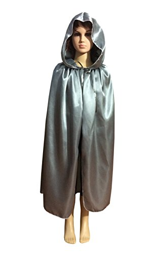Penta Angel Satin Silk Halloween Christmas Party Vampire Hooded Cloak Cosplay Dress Cape (45