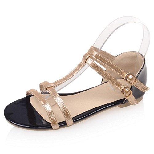 LongFengMa Fashion Ladies Strappy Metallic Flats Sandals Classic T-Strap Shoes Gold 6OTz88AuY