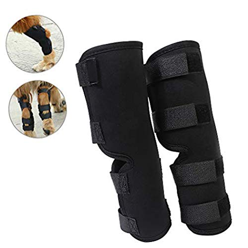 Yuqoka Dog Knee Brace for Torn Acl Hind Back Leg Dog Canine Protector Rear Leg Hock Joint Wrap Protects Sleeves for Injury and Sprain Protection (L)