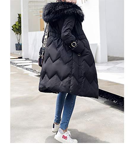 Lungo Pelliccia Signore Piumino Lqyrf Con Black In E Slim Cappuccio Inverno Collo Medie Staccabile qZtd0wxC
