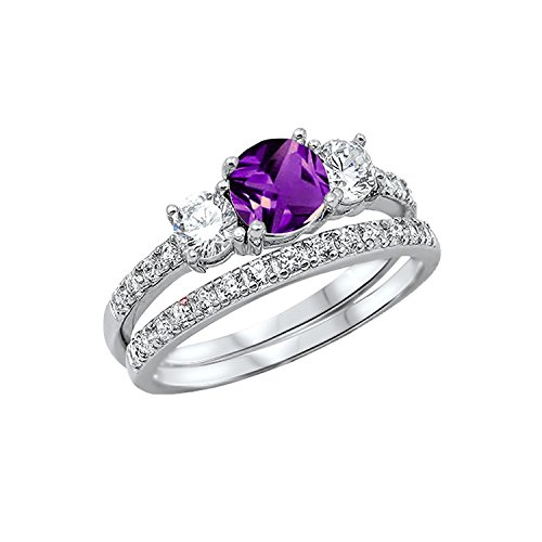 Blue Apple Co. 3-Stone Wedding Bridal Set Ring Band Round Simulated Amethyst 925 Sterling Silver, Size-5