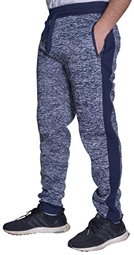 Reset Mens Fleece Joggers Sweatpants Elastic Waist Zipper Pockets Navy 5X Plus Size -