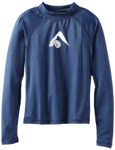 Kanu Surf Little Boys' Platinum Long Sleeve Rashguard, Navy, Small (8) by Kanu Surf