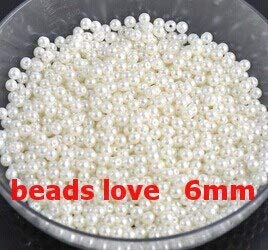 Calvas Pick 14 Color 6mm ABS Imitation Pearl Beads Round Beads 500pcs/lot (w02763) - (Color: White) ()