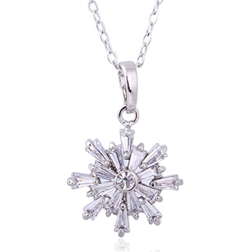 YAZILIND Christmas Snowflake Silver Plated Cubic Zirconia Pendant Necklace Jewelry