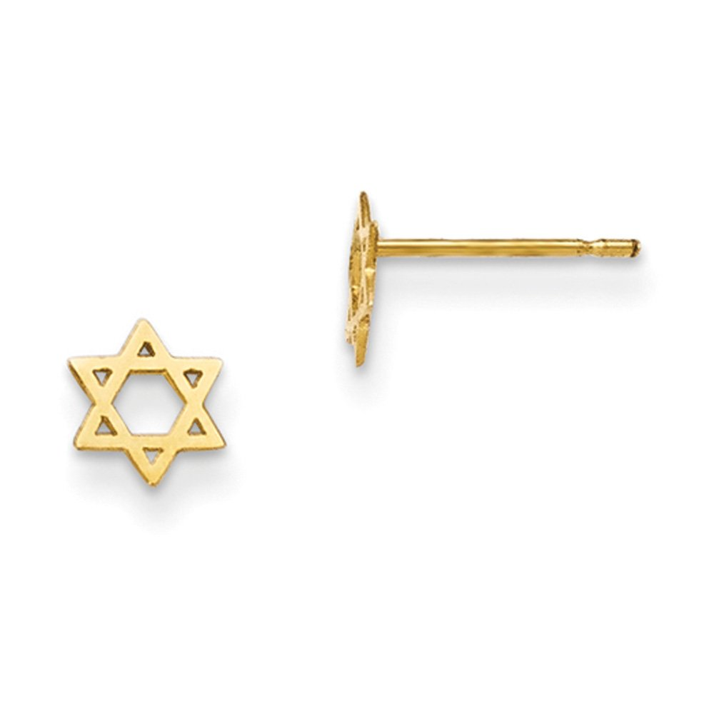 Black Bow Jewellery Company : Kids 5mm Child's Star of David Post Earrings in 14k Yellow Gold