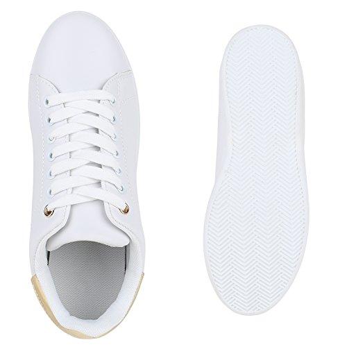 Damen Sneakers Velours Metallic Sneaker Low Sportschuhe Schnürer Turnschuhe Animal Prints Lack Leder-Optik Schuhe Glitzer Damenschuhe Flandell Weiss Gold