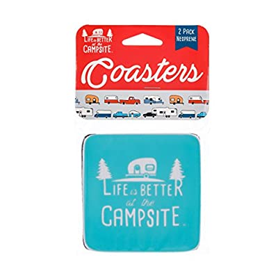 Camco Life Is Better at The Campsite Neoprene Drink Coaster - Teal Blue with Logo - Great for Rving, Camping and More - 2 Pack (53230): Automotive