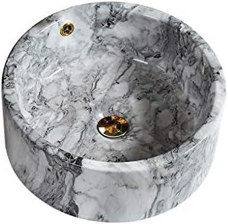 WJ 洗面台 バスルームの洗面台、丸い大理石の洗面化粧台セラミック家庭用シンクアート流域シングル盆地、42X42X17cm /-/ (Size : 42X42X17cm)
