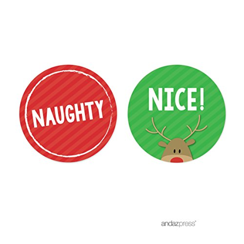Andaz Press Christmas Collection, Round Circle Gift Label Stickers, Naughty or Nice, 40-Pack