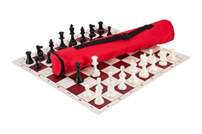 The House of Staunton Quiver Chess Set Combination - Triple Weighted - Red Bag/Board - by US Chess Federation