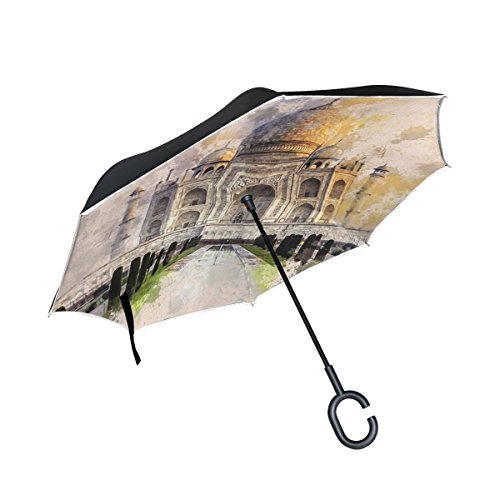 Agra Ivory Green - DNOVING Double Layer Inverted Taj Mahal Ivory-white Marble Agra India 17th Umbrellas Reverse Folding Umbrella Windproof Uv Protection Big Straight Umbrella For Car Rain Outdoor With C-shaped Handle
