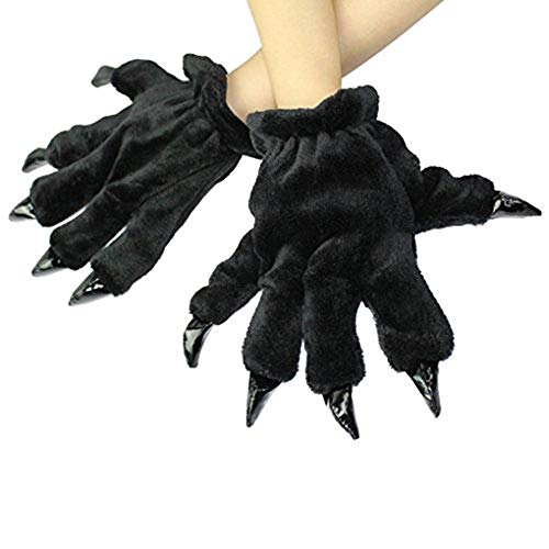 Halloween Kids Black Cat Paw Hand Gloves Costume Prop Winter Warm Claw Mitten Gift for Girl Boy