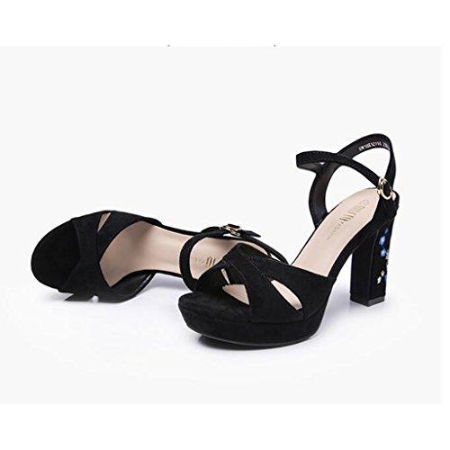 Noir Dames Jingsen Chaussures Couleur Chaussures Heel 36 Doux Sandales Épais Taille Noir High Summer Fresh brodé 7q07H1w